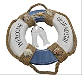 【SOURIRE】 お洒落 Welcome ボード 地中海 マリン 系 木製 インテリア 看板 店舗 壁掛け (円形) …