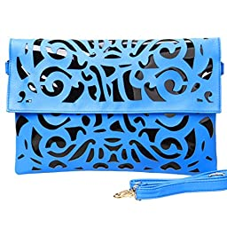 BMC Black Vinyl + Neon Blue Faux Leather Decorative Cut Out Print Design Large Fashion Statement Envelope Clutch