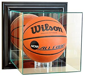 Buy Basketball Wall Mounted Glass Display Case with Black Frame by Hall of Fame Memorabilia