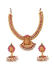 Ganapathy Gems 1 Gram Gold Plated Traditional South Indian Temple Jewellery Set With Pearls. - B00SV4T3AU