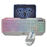AULA  Rainbow LED Backlit Gaming Keyboard & Mouse Combo with Pro-Gaming Mousepad Included (White Color) (Color: White)