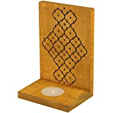 Indian Artisans Online Wooden Tealight Candle Holder (15 Cm X 10 Cm, Yellow, IAHTH097)