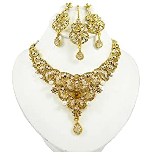 Wedding Gifts For Bride Amazon India : Indian Gold Tone Cz Women Wear Necklace Earring Set Party Wear Wedding ...