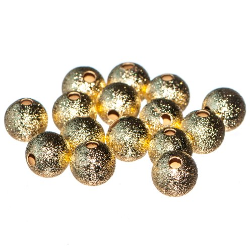 Busy Bead Pack of 25 X Golden Coloured Brass Round Stardust Beads 8mm