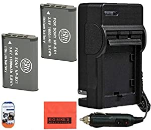 2 NP-BX1 NP-BX1/M8 Batteries & Charger for Sony CyberShot DSC-RX1, DSC-RX1R, DSC-RX100, DSC-RX100M II, DSC-RX100 III, DSC-H300, DSC-H400, DSC-HX300, DSC-HX50V, DSC-WX300, DSC-WX350, HDR-AS10, HDR-AS15, HDR-AS30V, HDR-AS100V, HDR-AS100VR, HDR-CX240, HDR-PJ275, HDR-MV1 Digital Camera