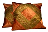 2 Traditional Banarsi Silk Brocade Velvet Indian Home Decorative Orange Throw Pillow Cushion Covers