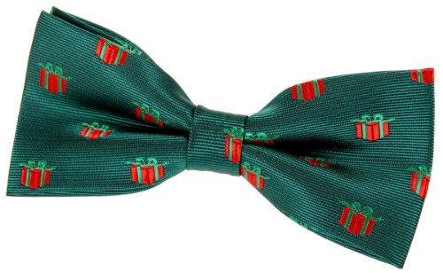"""Retreez Christmas Gift Graphic Woven Pre-Tied Bow Tie (4.5"""") - Green, Christmas Gift"""