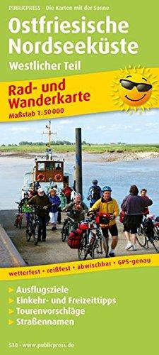 Rad- und Wanderkarte Ostfriesische Nordseeküste, westlicher Teil: Mit Ausflugszielen, Einkehr- & Freizeittipps, wetterfest, reissfest, abwischbar, GPS-genau. 1:50000