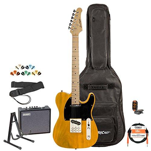 Sawtooth St-Et-Bsb-Kit-3 Electric Guitar, Butterscotch With Black Pickguard