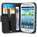 Samsung Galaxy S3 Mini i8190 Black PU Leather Book Flip Wallet Case Cover Pouch With Internal Card Slots & LCD Screen Protector (Black & SP & Stylus)
