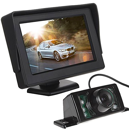 LotFancy Backup Camera & Rear View Monitor System for Truck Car Parking, Waterproof, Night Vision, 4.3