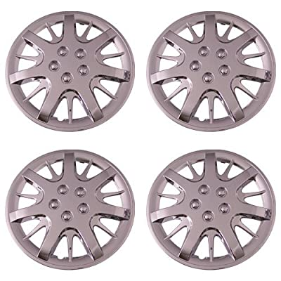 Set of 4 Chrome 16 Inch Aftermarket Replacement Hubcaps with Metal Clip Retention System - Part Number: IWC189/16C