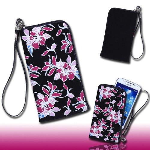 Handy Tasche Case Hülle schwarz / pink / weiß Blumen Design3 für Samsung C3312 Rex60 / S5222R Rex80 / Galaxy Young S6310 / Galaxy Young Duos S6312 / Galaxy Pocket Plus S5301 / Samsung Galaxy Pocket Neo S5310 / Alcatel OT 903D / Alcatel OT Star 6010D