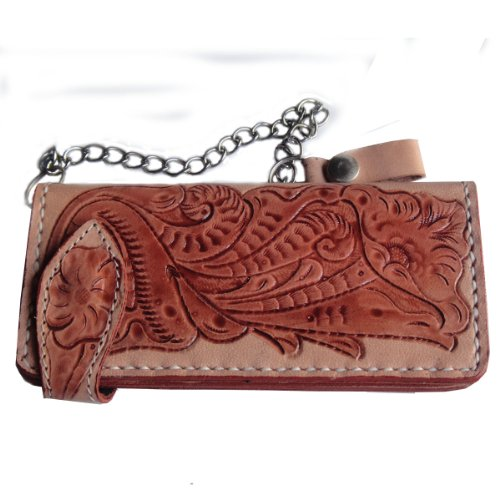Biker / Trucker Clutch Wallet With Safty Chain ** Cool Genuine Cow Leather