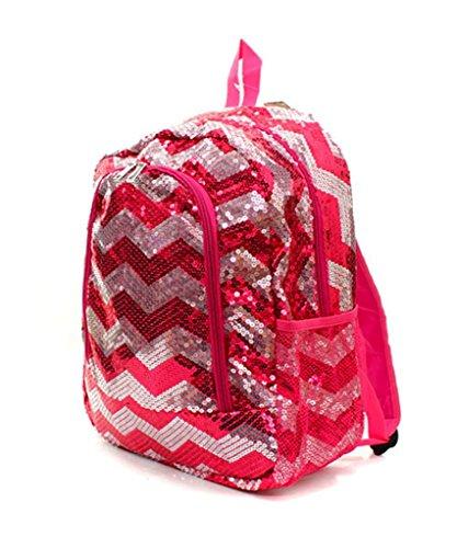 Chevron Sequins Backpack Bookbag Hot Pink