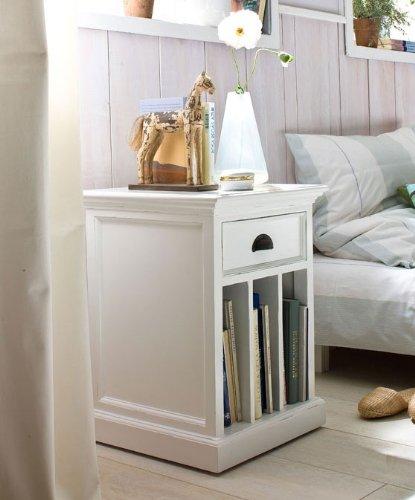 Albion pintada en blanco de noche mesita de noche armario de madera de caoba