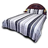 Little India Designer Print Pure Cotton Double Bedsheet with 2 Pillow Covers - White and Grey