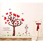 Decals Design 'Love Tree With Heart-shaped Leaves' Wall Sticker (PVC Vinyl, 50 Cm X 70 Cm)