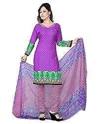 Lookslady Printed Blue & Pink Crepe Dress Material