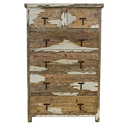 Antique White Tallboy Six Drawer Chest Of Drawers Real Wood Dresser Great Quality