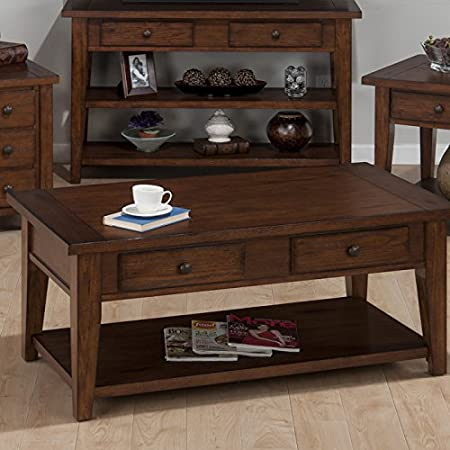 Clay County Oak Castered Coffee Table w/ 2 Pull-Thru Drawers by Jofran