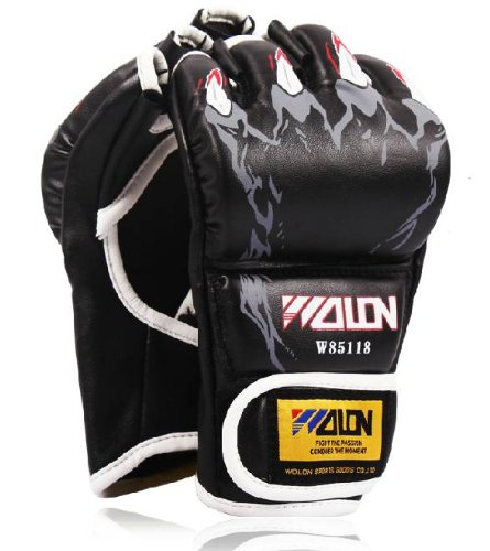 Martial arts training open finger gloves and punching gloves fist guard [WL Products] FOFG75 ([Black], free)