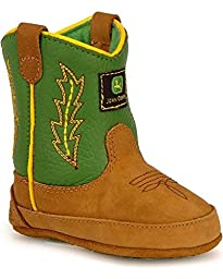 John Deere 186 Western Boot (Infant/Toddler),Tan/Green,1 M US Infant
