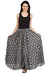 Rrajsee Women's Cotton Skirt (RAPPLWRLSKIKKBWW, Black & White)