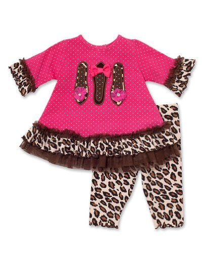 Molly & Millie By Peaches N Cream Baby-Girls Pink Leopard Chic Leggings Outfit, 12 Months