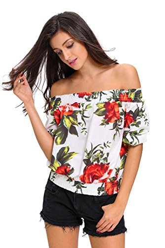 Sisiyer Women's Floral Print Off-The-Shoulder Half Sleeve Top Blouse