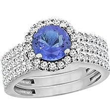 buy 10K White Gold Natural Tanzanite 3-Piece Bridal Ring Set Round 6Mm Halo Diamond, Size 5.5