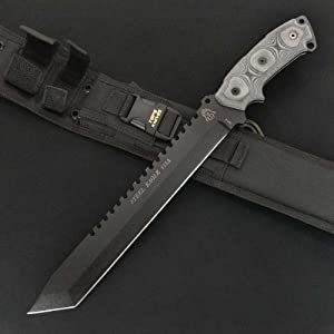 Tops Knives 111A Large Steel Eagle Tanto Fixed Blade Knife with Sawback Spine - Black... by Unknown