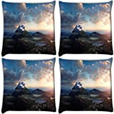 Snoogg Snow At Hill Top Pack Of 4 Digitally Printed Cushion Cover Pillows 18 X 18 Inch