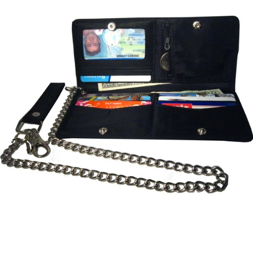 Moto Bi-Fold Checkbook Wallet with chain