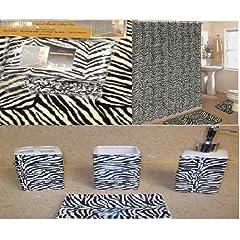 #1 19pcs Bath Accessory Set Lovely White Zebra Print Bathroom Rugsu0026 Shower  Curtain!