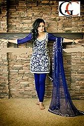 JJR Store Designer Blue Cotton Embroidered Dress material