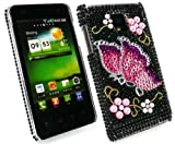 Emartbuy® LG Optimus 2x P990 Diamante Hard Back Cover Butterfly Black Pink