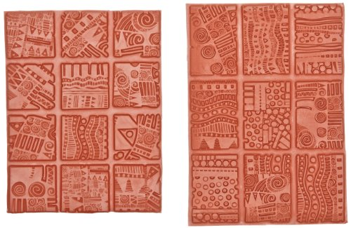 Sax Texture Imprinting Mats - Assorted Sizes - Set of 21 - Assorted Designs