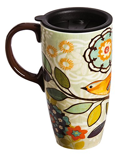 Bird and Flower Bliss Ceramic Travel Coffee Mug 17oz (Coffee Mug For Microwave compare prices)