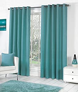 TEAL 100% COTTON 66x54 168x137CM FULLY LINED RING TOP CURTAINS DRAPES by Curtains