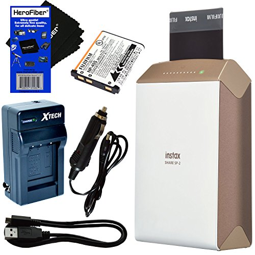 Fujifilm-instax-SHARE-Smartphone-Printer-SP-2-Gold-International-Version-Rechargeable-Battery-ACDC-Charger-HeroFiber-Ultra-Gentle-Cleaning-Cloth