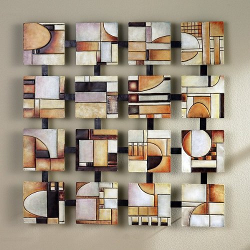 Hand Painted Earth Tone Metal Abstract Squares Wall Art