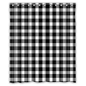 Black And White Gingham Check Plaid Fashion Pattern Waterproof Shower Curtains