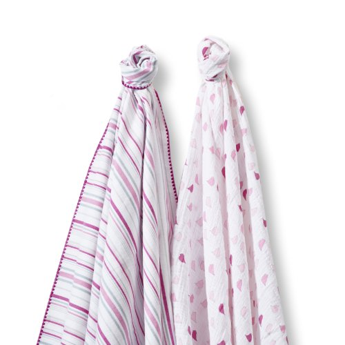 Swaddledesigns Swaddleduo Stripes And Little Chickies Duo, Very Berry