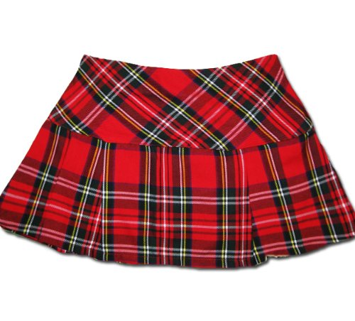 Classic Red Tartan Plaid Mini Skirt for Punk Fancy Dress