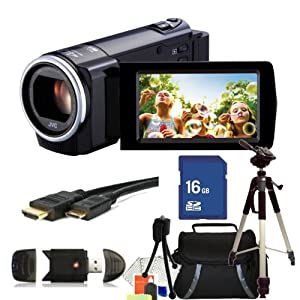 JVC GZ-E10 Full HD Everio Camcorder (Black) Kit. Includes: 16GB Memory Card, High Speed Memory Card Reader, Mini HDMI Cable, Tripod, Carrying Case & Strater Kit