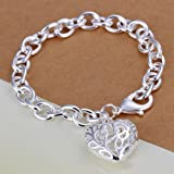 Sterling Silver Antiqued Filigree Charm Bracelet Hollow Out Heart W Gift Box