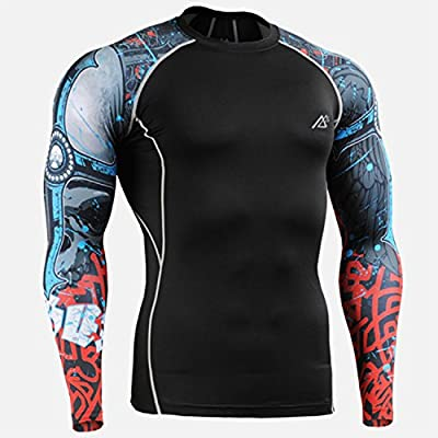 Men Long Sleeves Compression Fitness Skin Tight Shirts Weight Lifting Layer Running Tights Gym Training Bodybuilding T-Shirts