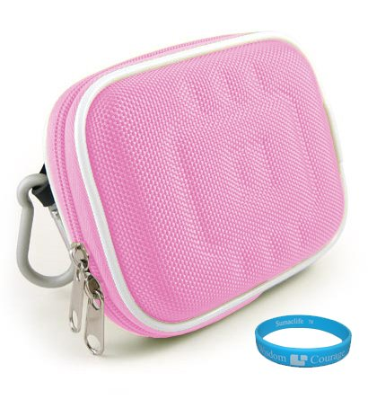 Durable Protective Camera Carrying Case (Nylon Pink) with Removable Carabineer for Canon PowerShot SX130 IS, SX120 IS, Canon D-10 Waterproof Camera, Olympus SZ-30MR, SZ10, XZ-1, Nikon Coolpix S9100, P7000, Panasonic Lumix GF1, GF2, DCM-LX5, Sony Cybershot H70, HX5V/B, DSC-HX9V, Leica D-LUX 5 Digital Camera (Fits All Models) + SumacLife TM Wisdom Courage Wristband