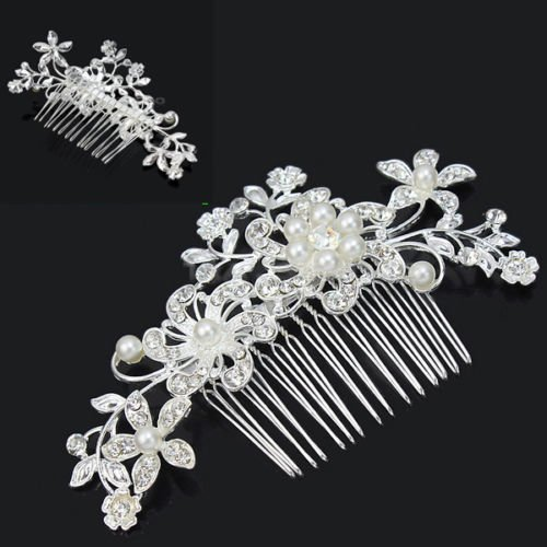 NYF Charm Bridal Wedding Silver Crystal Rhinestones Pearls Women Hair Comb Clip Hot